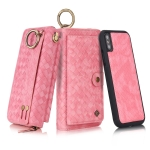 For iPhone X POLA Multi-function Fashion Weave Magnetic Horizontal Flip Leather Case with Card Slots & Wallet & Photo Frame & Lanyard(Pink)