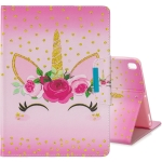 For iPad 10.2 Colored Drawing Pattern Horizontal Flip Leather Case with Holder & Card Slot & Wallet(Unicorn With Flowers)