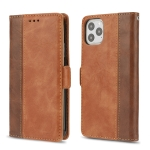 For iPhone 11 Pro Retro Texture Contrast Color Splicing Horizontal Flip TPU + PU Leather Case with Card Slots & Holder & Wallet(Brown)