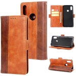 For Xiaomi Redmi Note 7 Retro Texture Contrast Color Splicing Horizontal Flip TPU + PU Leather Case with Card Slots & Holder & Wallet(Brown)