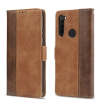 For Xiaomi Redmi Note 8 Retro Texture Contrast Color Splicing Horizontal Flip TPU + PU Leather Case with Card Slots & Holder & Wallet(Brown)