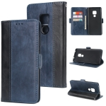 For Huawei Mate 20 Retro Texture Contrast Color Splicing Horizontal Flip TPU + PU Leather Case with Card Slots & Holder & Wallet(Blue)