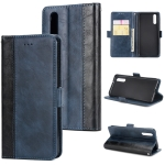 For Huawei P20 Retro Texture Contrast Color Splicing Horizontal Flip TPU + PU Leather Case with Card Slots & Holder & Wallet(Blue)