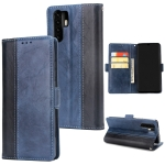 For Huawei P30 Pro Retro Texture Contrast Color Splicing Horizontal Flip TPU + PU Leather Case with Card Slots & Holder & Wallet(Blue)