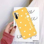 For Galaxy Note10+ Smiling Love Heart Pattern Frosted TPU Protective Case(Yellow)