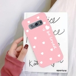 For Galaxy S10 Smiling Love Heart Pattern Frosted TPU Protective Case(Pink)