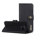 For LG Q70 KHAZNEH Cowhide Texture PU + TPU Horizontal Flip Leather Case with Holder & Card Slots & Wallet(Black)