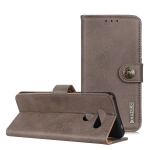 For LG Q70 KHAZNEH Cowhide Texture PU + TPU Horizontal Flip Leather Case with Holder & Card Slots & Wallet(Grey)