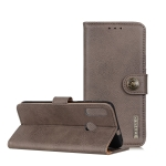 For OPPO A8 KHAZNEH Cowhide Texture PU + TPU Horizontal Flip Leather Case with Holder & Card Slots & Wallet(Grey)