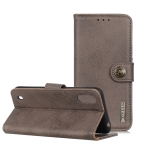 For ZTE A5(2020) KHAZNEH Cowhide Texture PU + TPU Horizontal Flip Leather Case with Holder & Card Slots & Wallet(Grey)