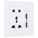 Universal Standard Wall Socket with 2 x USB Ports