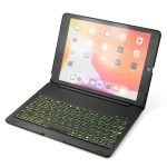 F102S For iPad 10.2 inch Aluminum Alloy Colorful Backlit Bluetooth Keyboard + Protective Case (Black)