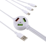 2.4A USB Male to Micro USB + 8 Pin + USB-C / Type-C Male Interface Charge Data Cable with 3 USB Female Interface, Length: 1.2m(White)