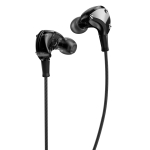 WK Y21 3.5mm Metal Rivets High Fidelity Stereo In Ear Wired Control Music Earphone, Cable Length: 1.25m (Black)