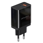 awei C-980 18W PD 8 Pin + QC 3.0 USB Interface Fast Charging Travel Charger (Black)