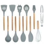 11 in 1 Silicone Wood Handle Heat-resistant Cooking Cutlery Sets Kitchen Tools