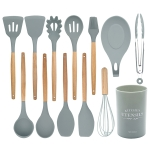 13 in 1 Silicone Wood Handle Heat-resistant Cooking Cutlery Sets Kitchen Tools with Large Container