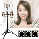 PULUZ 1.65m Tripod Mount + Dual Phone Brackets + 10.2 inch 26cm Curved Surface USB 3 Modes Dimmable Dual Color Temperature Ring Vlogging Video Light Live Broadcast Kits with Phone Clamp (Black)