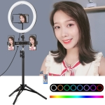 PULUZ 1.1m Tripod Mount + Dual Phone Brackets Horizontal Holder + 11.8 inch 30cm Curved Surface RGB Dimmable LED Dual Color Temperature LED Ring Vlogging Video Light  Live Broadcast Kits with Cold Shoe Tripod Ball Head & Phone Clamp & Remote Contorl (Black)