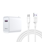 Baseus Speedy Series 22.5W Single USB Quick Charging Travel Charger Power Adapter for Huawei, with 1m Type-C / USB-C Charging Cable (White)