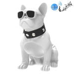 CH-M10 Bulldog Shape Stereo Wireless Bluetooth Speaker, Support TF Card / U Disk / FM(White)