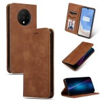 For OnePlus 7T Retro Skin Feel Business Magnetic Horizontal Flip Leather Case(Brown)