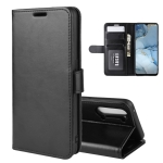 For Oppo Reno3 R64 Texture Single Horizontal Flip Protective Case with Holder & Card Slots & Wallet& Photo Frame(Black)