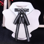 Women Bow-knot Long Bow Tie College Style Stripe Shirt Bow Tie(Black)