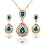 Women Crystal Water Drop Pendant Necklaces Earrings Sets(Blue)