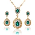 Women Crystal Water Drop Pendant Necklaces Earrings Sets(Green)