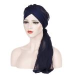 2 PCS Ladies Forehead Cross Chiffon Long Tail Cap Turban Hat, Size:One Size(Navy)