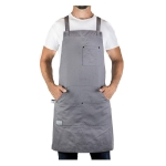 Cotton Canvas Oversized Apron Kitchen Thermal Insulation Anti-dirty Overall(Gray)