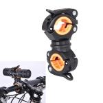 360 Lamp Holder Bicycle Flashlight Lamp Clip Fixing Bracket(Black Orange)