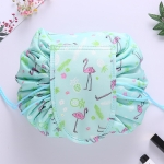 Fashion Waterproof Large Capacity Quick Drawstring Makeup Jewelry Storage Bag Women Travel Cosmetic Bag Toiletry Tool Kit (Green Flamingo)