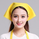 Waiter Men and Women Kitchen Work Turban Hat Triangle Scarf Chef Hat, Size:Adjustable(Yellow Sticky Buckle)