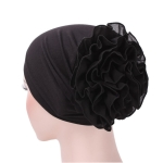Solid Color Chiffon Big Cap Flower Pullover Turban Hat, Size:One Size(Black)