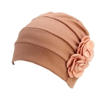 2 PCS Flower Wrinkled Pull-over Confinement Chemotherapy Cap, Size:One  Size(Khaki)