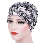 Women Floral Cotton Turban Hat Wrap Cap, Size: M(56-58cm)(Black Leaves)