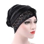 Pleuche Rhinestone Turban Hat Stacking Hat, Size:Adjustable(Black)
