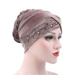 Pleuche Rhinestone Turban Hat Stacking Hat, Size:Adjustable(Light Brown)