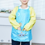 Waterproof Cartoon Dirt-resistant Light Breathable Drawing Clothes Apron for Children, Size:L(Lake Blue)