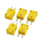 5 PCS Yellow Plastic Case Flat Temperature Plug
