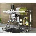 Stainless Steel Sink Drain Dish Rack Kitchen Storage Supplies (Triangular Sink) Single Tank
