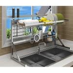 Stainless Steel Sink Drain Dish Rack Kitchen Storage Supplies (Triangular Sink) Double Tank