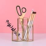 Golden Creative Hexagonal Combination Glass Multifunctional Storage Pen Holder Cosmetic Bucket