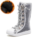 Sequined Girls High Boots, Size:33(White Cotton Shoe)