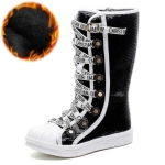 Sequined Girls High Boots, Size:35(Black Cotton Shoe)