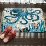 Marine Series Pattern Bathroom Toilet Non-slip Mat Flannel Absorbent Foot Pad, Size:46x76cm(Octopus)