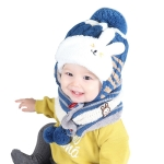 Children Fall and Winter Cute Cartoon Rabbit Ears Cashmere Knit Wool Cap + Scarf Set, Suitable Age:2-3 Years Old(Blue)