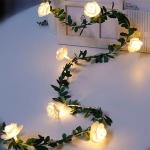 4.5m  30 LEDs Solar Simulation Green Leaf Rattan Rose Flower Vine LED Light String Garland Decoration
